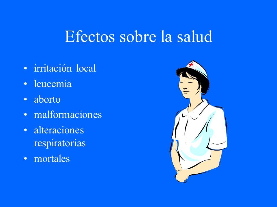 Efectos sobre la salud irritación local leucemia aborto malformaciones