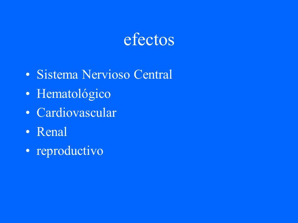 efectos Sistema Nervioso Central Hematológico Cardiovascular Renal