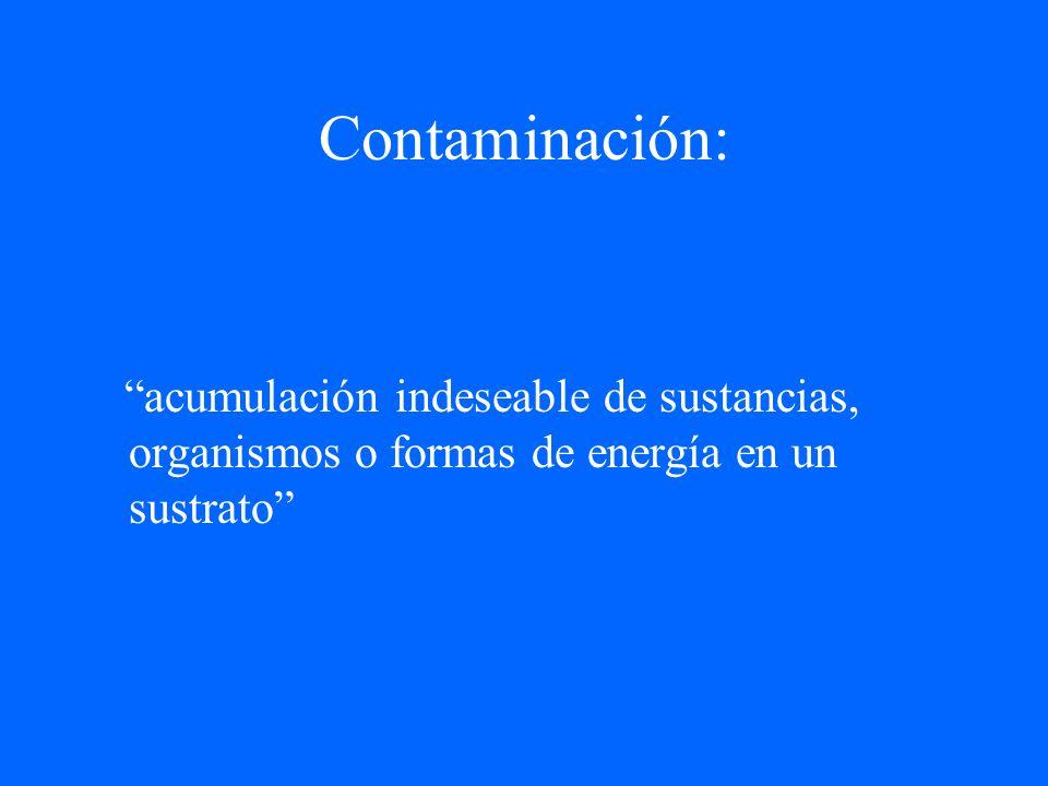 Contaminación: acumulación indeseable de sustancias, organismos o formas de energía en un sustrato