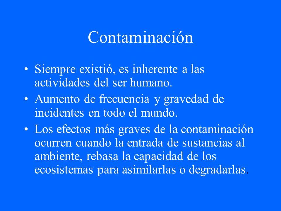 Contaminación Siempre existió, es inherente a las actividades del ser humano. Aumento de frecuencia y gravedad de incidentes en todo el mundo.