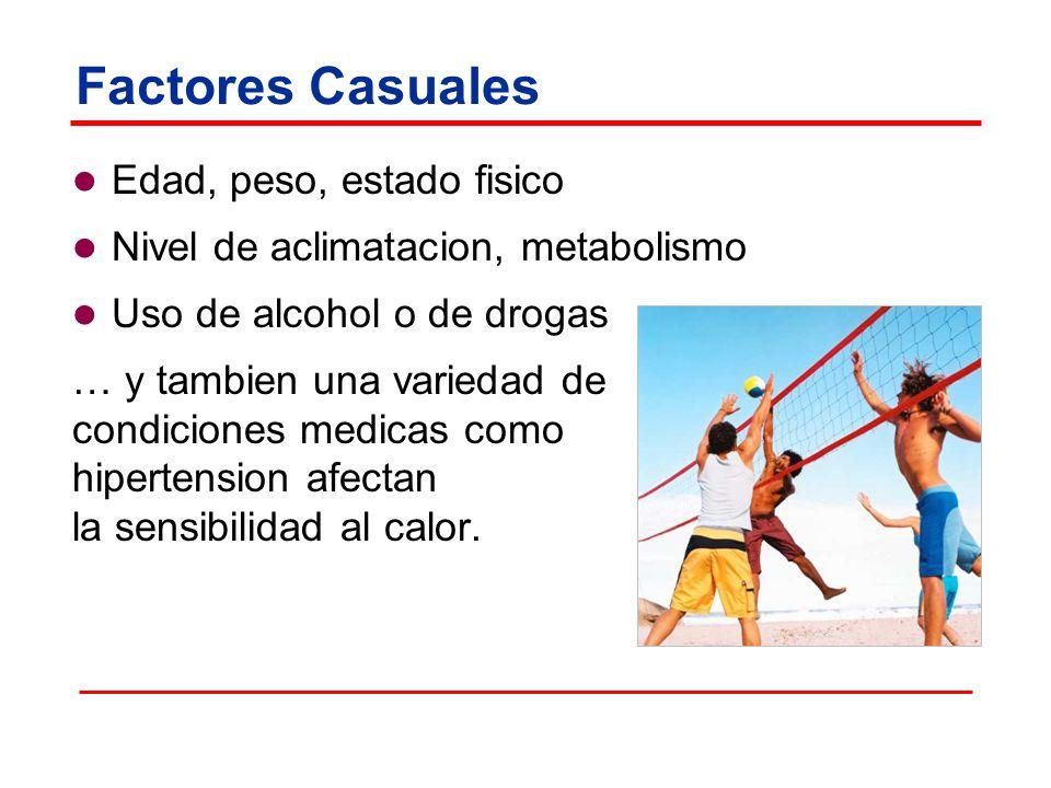 Factores Casuales Edad, peso, estado fisico