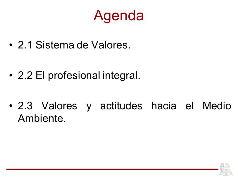 Agenda 2.1 Sistema de Valores. 2.2 El profesional integral.