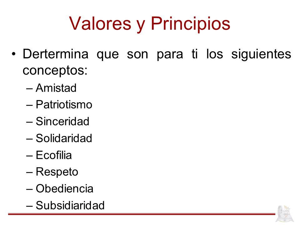 Valores y Principios Dertermina que son para ti los siguientes conceptos: Amistad. Patriotismo. Sinceridad.