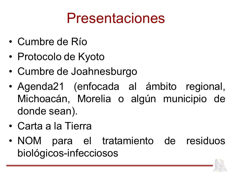 Presentaciones Cumbre de Río Protocolo de Kyoto Cumbre de Joahnesburgo