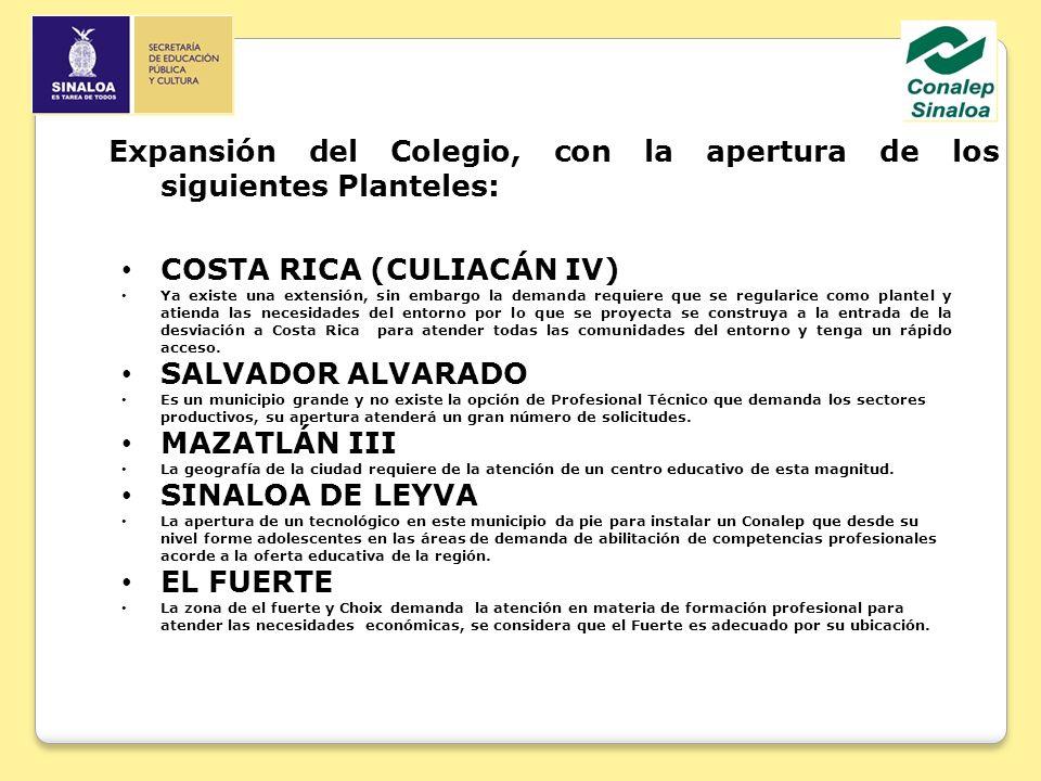 Expansión del Colegio, con la apertura de los siguientes Planteles: