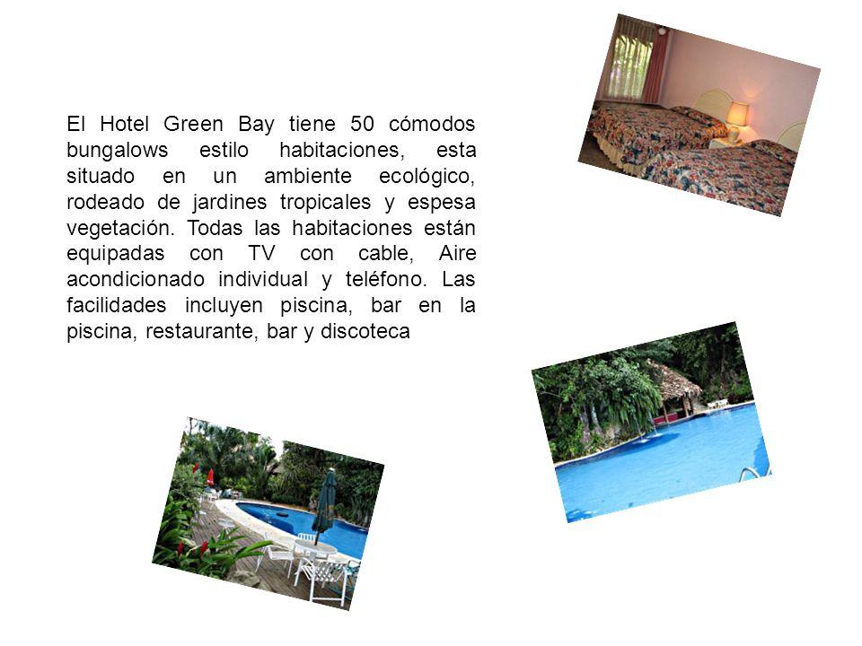 El Hotel Green Bay tiene 50 cómodos bungalows estilo habitaciones, esta situado en un ambiente ecológico, rodeado de jardines tropicales y espesa vegetación.