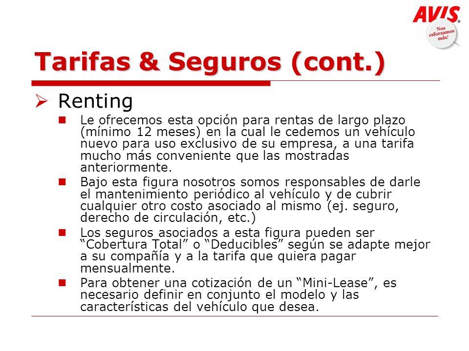Tarifas & Seguros (cont.)