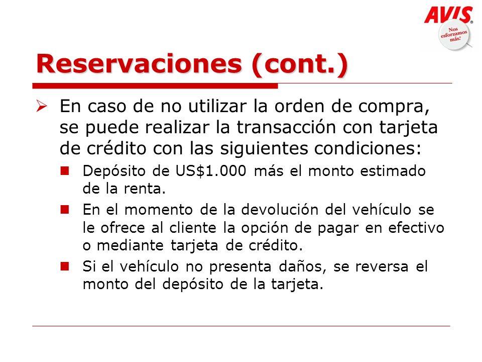 Reservaciones (cont.)