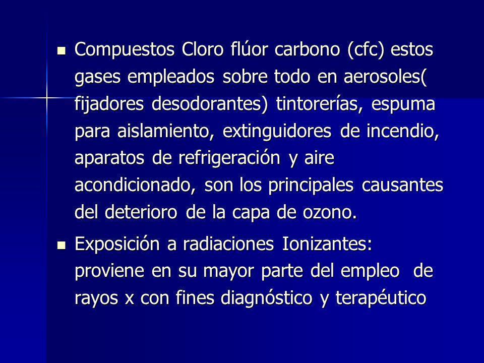 Compuestos Cloro flúor carbono (cfc) estos gases empleados sobre todo en aerosoles( fijadores desodorantes) tintorerías, espuma para aislamiento, extinguidores de incendio, aparatos de refrigeración y aire acondicionado, son los principales causantes del deterioro de la capa de ozono.