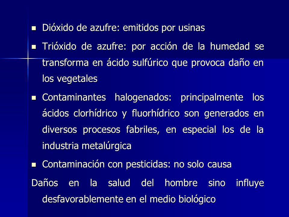 Dióxido de azufre: emitidos por usinas