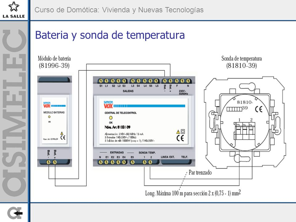 Bateria y sonda de temperatura