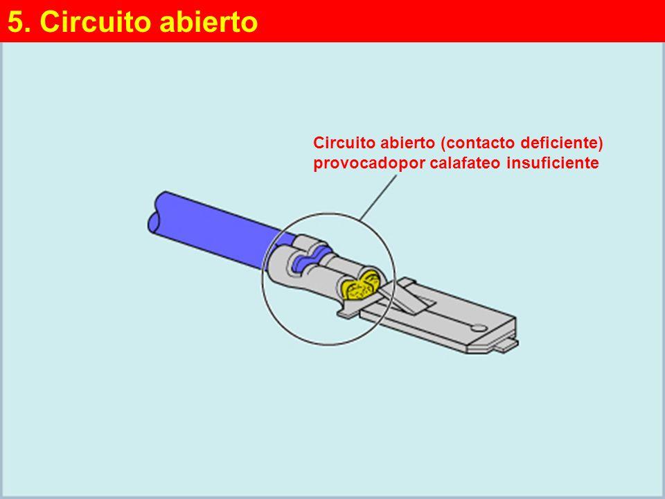 5. Circuito abierto Circuito abierto (contacto deficiente) provocadopor calafateo insuficiente. 5. Circuito abierto.