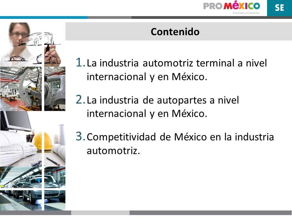 Contenido La industria automotriz terminal a nivel internacional y en México. La industria de autopartes a nivel internacional y en México.