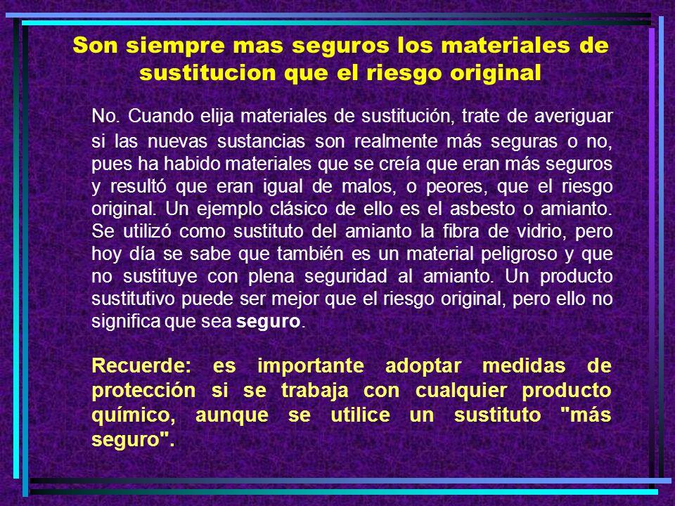 Son siempre mas seguros los materiales de sustitucion que el riesgo original