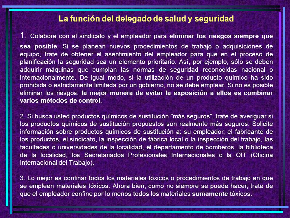 La función del delegado de salud y seguridad