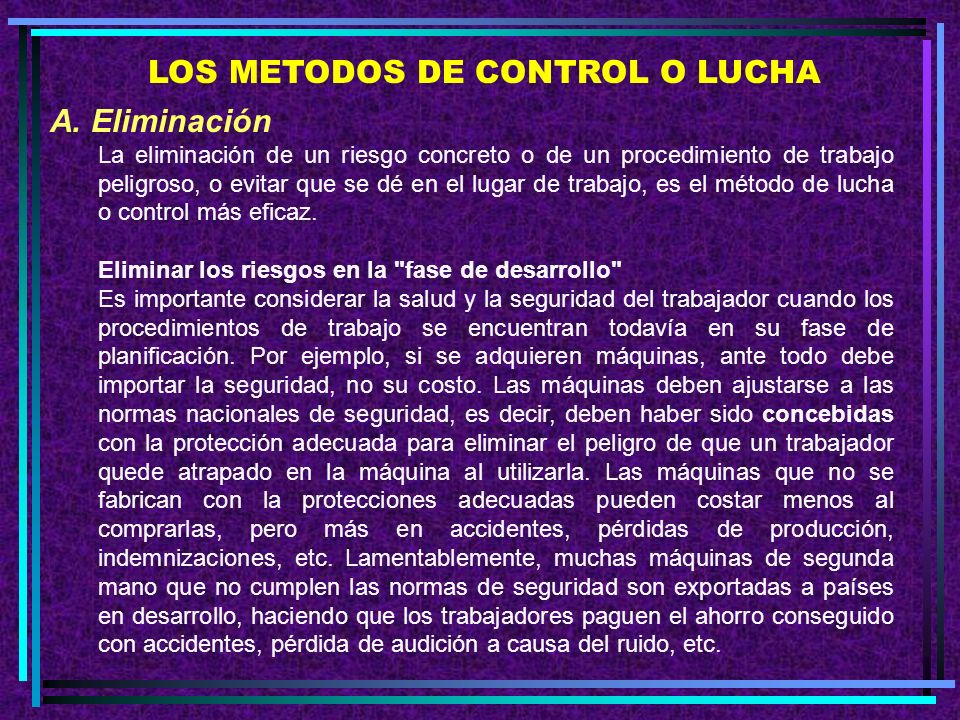 LOS METODOS DE CONTROL O LUCHA