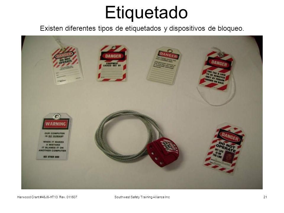 Etiquetado Existen diferentes tipos de etiquetados y dispositivos de bloqueo. Harwood Crant #46J6-HT13 Rev. 011507.