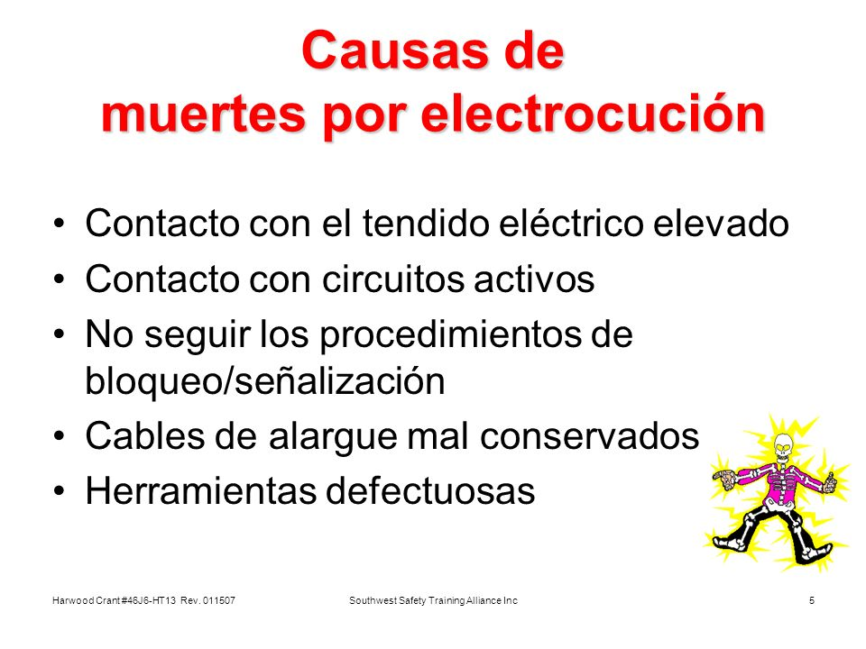 Causas de muertes por electrocución