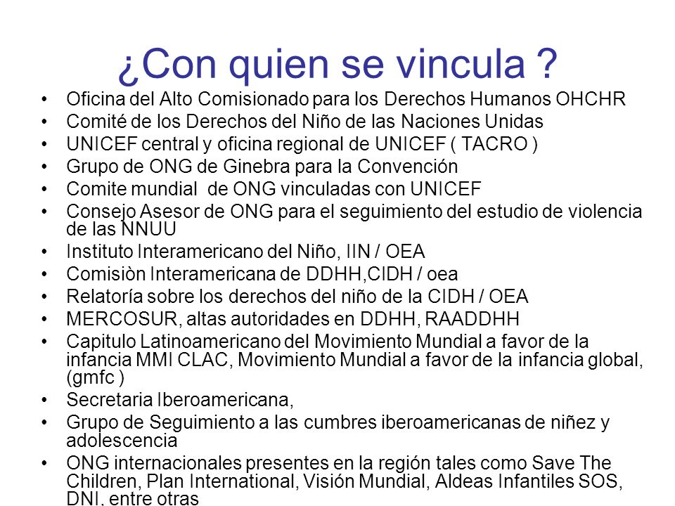 ¿Con quien se vincula Oficina del Alto Comisionado para los Derechos Humanos OHCHR. Comité de los Derechos del Niño de las Naciones Unidas.