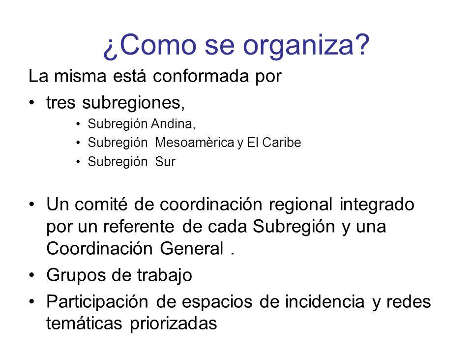 ¿Como se organiza La misma está conformada por tres subregiones,