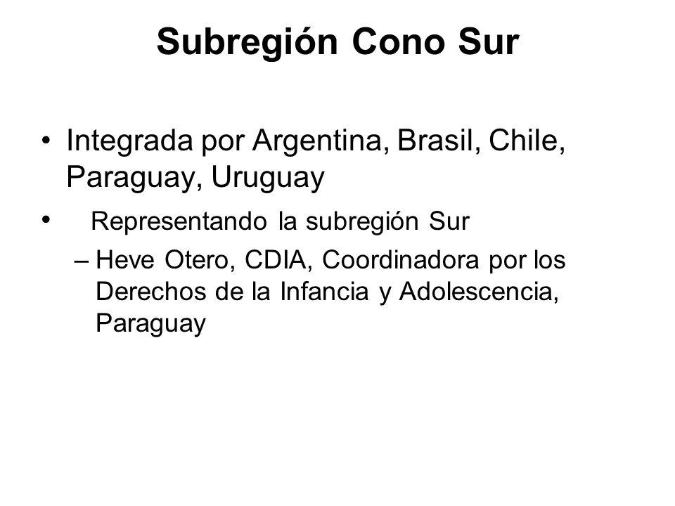 Subregión Cono Sur Integrada por Argentina, Brasil, Chile, Paraguay, Uruguay. Representando la subregión Sur.