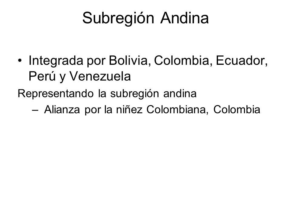Subregión Andina Integrada por Bolivia, Colombia, Ecuador, Perú y Venezuela. Representando la subregión andina.