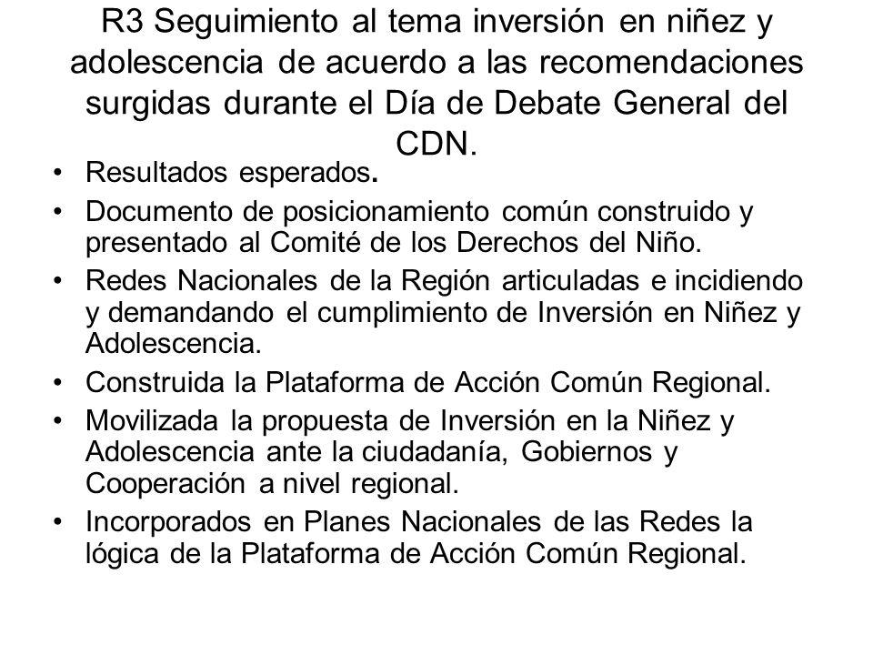 R3 Seguimiento al tema inversión en niñez y adolescencia de acuerdo a las recomendaciones surgidas durante el Día de Debate General del CDN.
