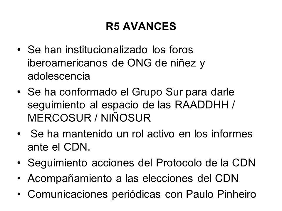 R5 AVANCES Se han institucionalizado los foros iberoamericanos de ONG de niñez y adolescencia.