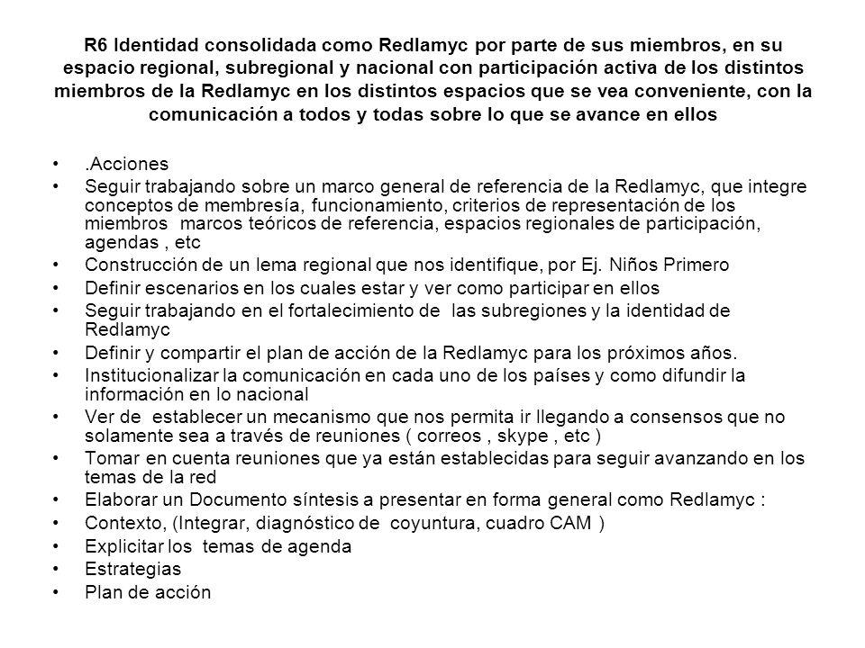 R6 Identidad consolidada como Redlamyc por parte de sus miembros, en su espacio regional, subregional y nacional con participación activa de los distintos miembros de la Redlamyc en los distintos espacios que se vea conveniente, con la comunicación a todos y todas sobre lo que se avance en ellos