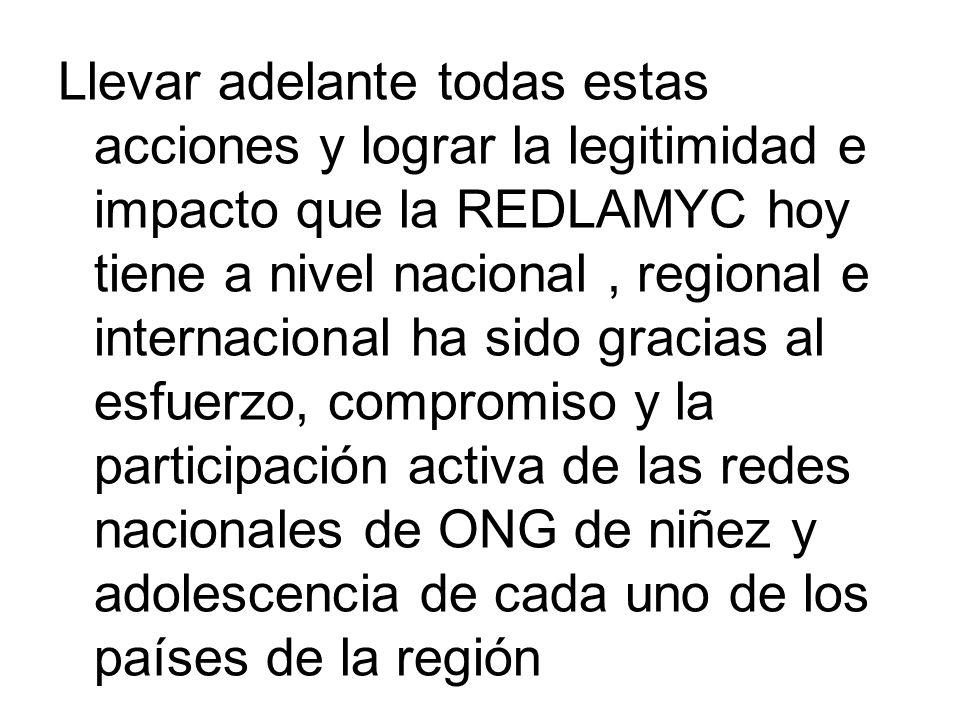 Llevar adelante todas estas acciones y lograr la legitimidad e impacto que la REDLAMYC hoy tiene a nivel nacional , regional e internacional ha sido gracias al esfuerzo, compromiso y la participación activa de las redes nacionales de ONG de niñez y adolescencia de cada uno de los países de la región