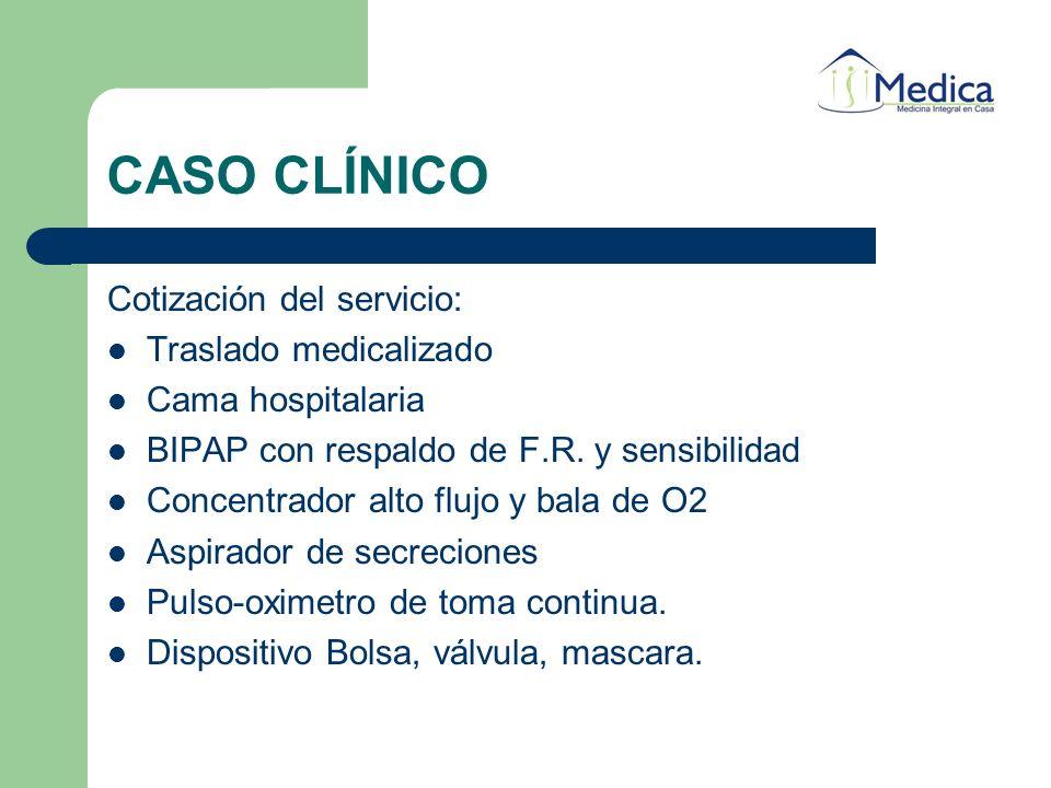 CASO CLÍNICO Cotización del servicio: Traslado medicalizado