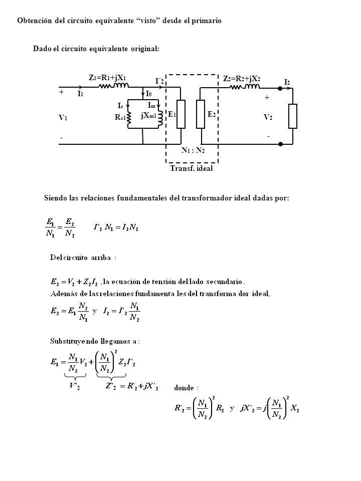 Obtención del circuito equivalente visto desde el primario