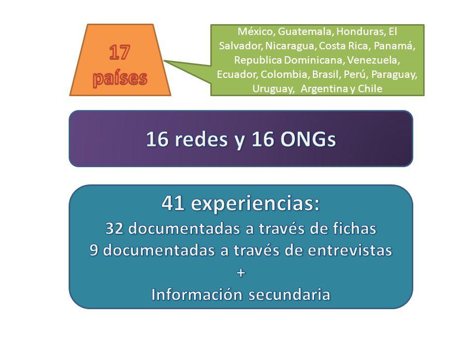 16 redes y 16 ONGs 41 experiencias: