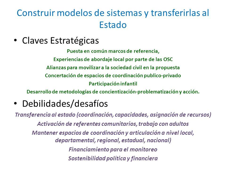 Construir modelos de sistemas y transferirlas al Estado
