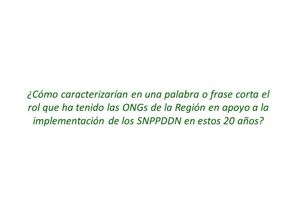 ¿Cómo caracterizarían en una palabra o frase corta el rol que ha tenido las ONGs de la Región en apoyo a la implementación de los SNPPDDN en estos 20 años