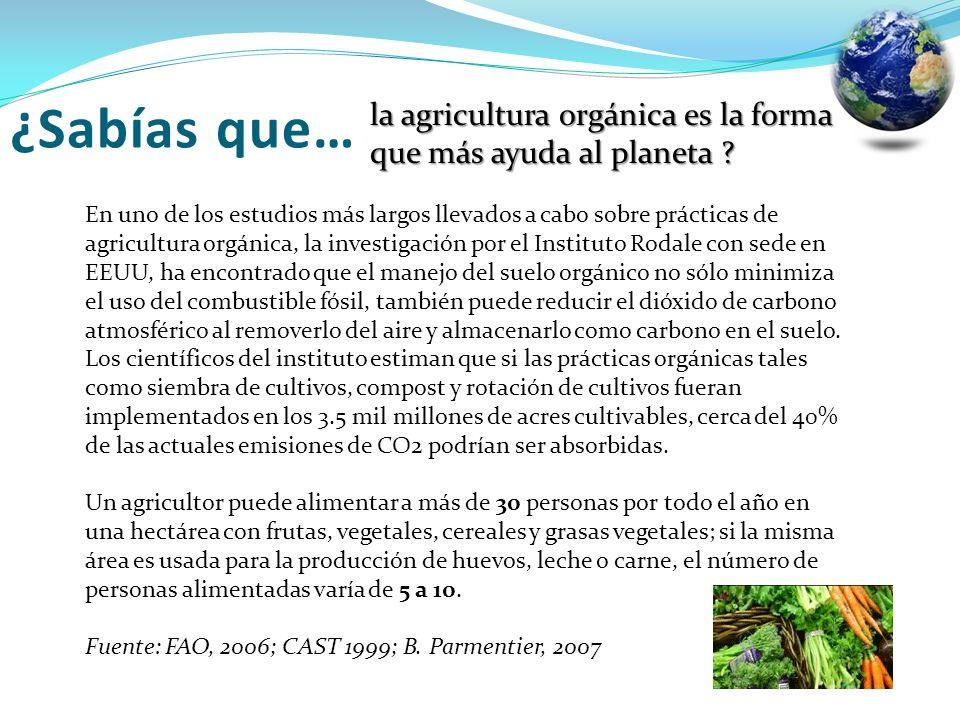 ¿Sabías que… la agricultura orgánica es la forma que más ayuda al planeta