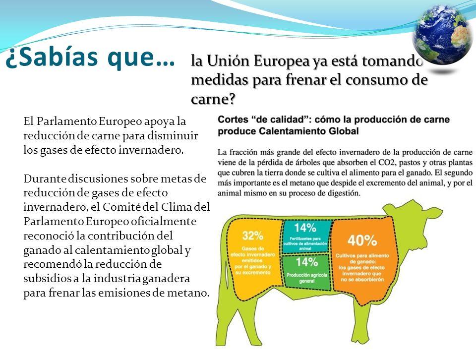 ¿Sabías que… la Unión Europea ya está tomando medidas para frenar el consumo de carne