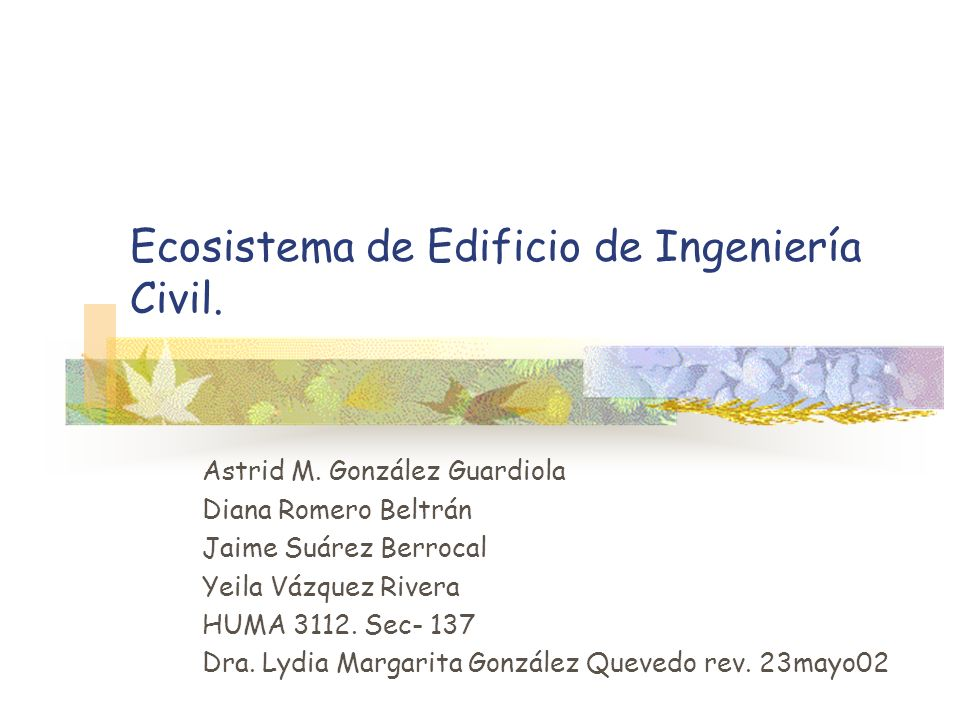Ecosistema de Edificio de Ingeniería Civil.