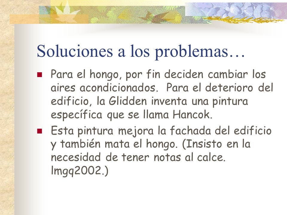 Soluciones a los problemas…