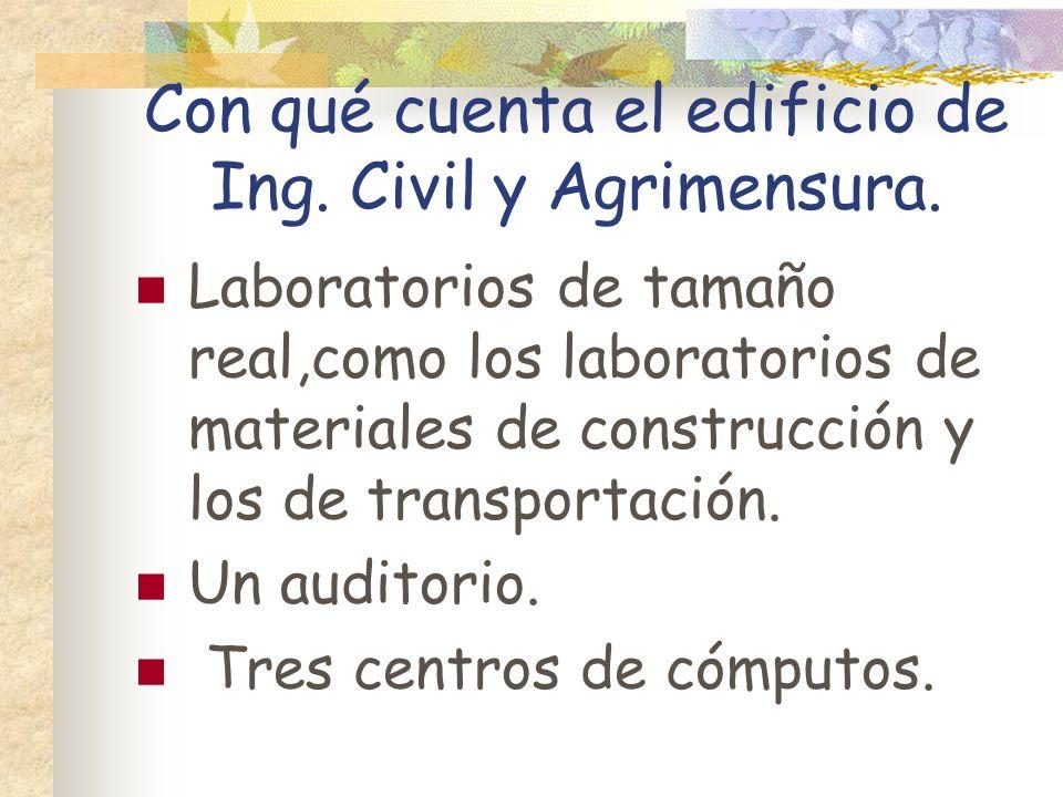 Con qué cuenta el edificio de Ing. Civil y Agrimensura.