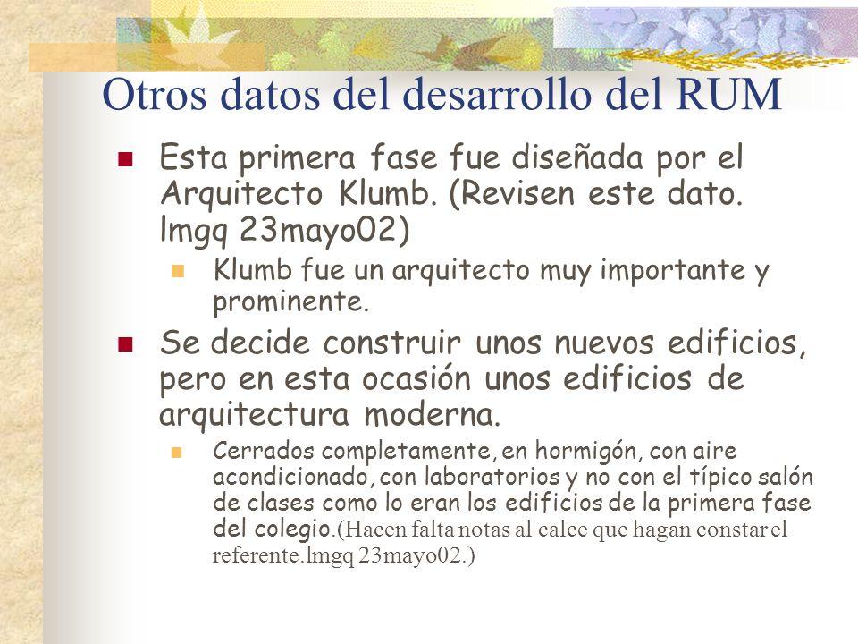 Otros datos del desarrollo del RUM