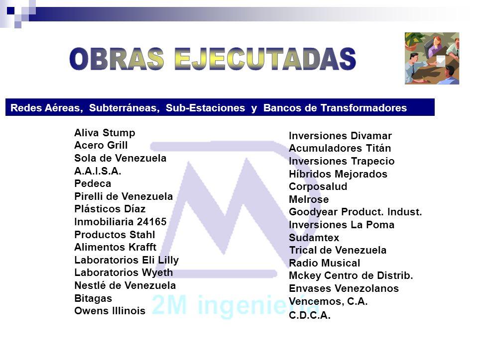 OBRAS EJECUTADASRedes Aéreas, Subterráneas, Sub-Estaciones y Bancos de Transformadores.