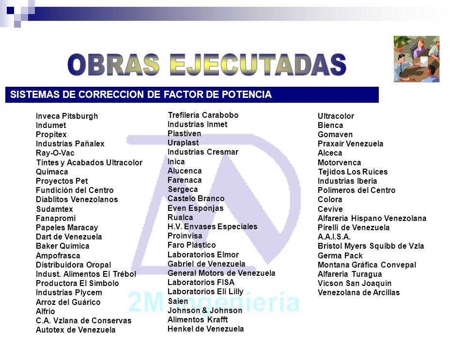 OBRAS EJECUTADAS SISTEMAS DE CORRECCION DE FACTOR DE POTENCIA