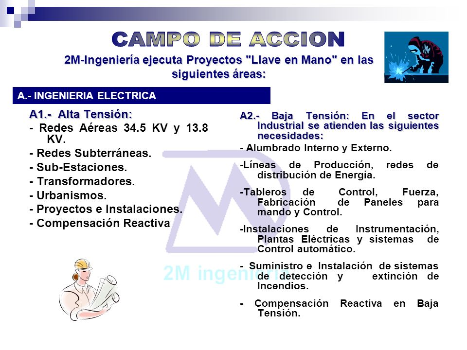 CAMPO DE ACCION2M-Ingeniería ejecuta Proyectos Llave en Mano en las siguientes áreas: A.- INGENIERIA ELECTRICA.