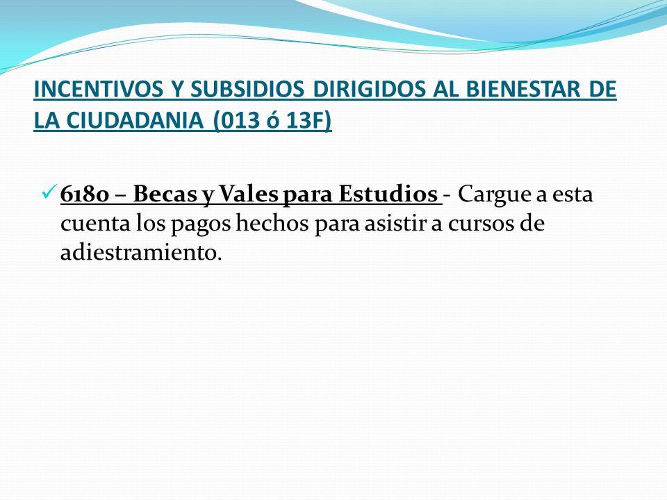 INCENTIVOS Y SUBSIDIOS DIRIGIDOS AL BIENESTAR DE LA CIUDADANIA (013 ó 13F)