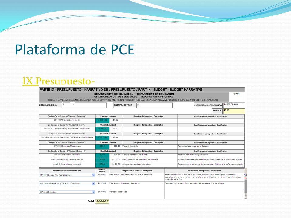 Plataforma de PCE IX Presupuesto-