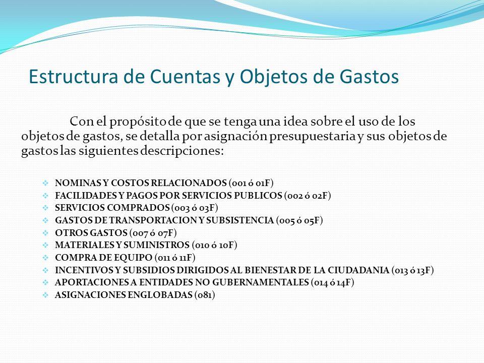 Estructura de Cuentas y Objetos de Gastos