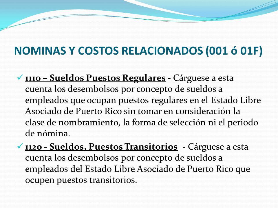 NOMINAS Y COSTOS RELACIONADOS (001 ó 01F)
