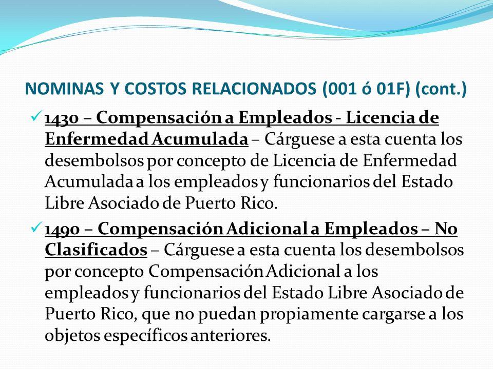 NOMINAS Y COSTOS RELACIONADOS (001 ó 01F) (cont.)