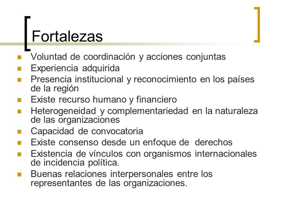 Fortalezas Voluntad de coordinación y acciones conjuntas